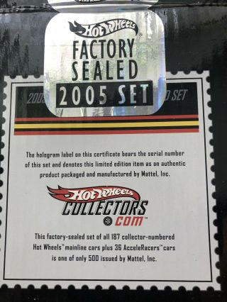 Hot Wheels 2005 Complete Set Factory.  Never Removed From Box.
