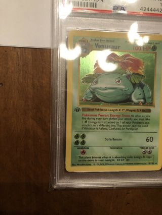 1st Edition Base Set Booster Pokemon Venusaur PSA 10 PRISTINE Card Thick Stamp 4