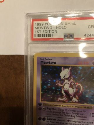 1st Edition Base Set Booster Pokemon Mewtwo PSA 10 Thick Stamp PRISTINE 2