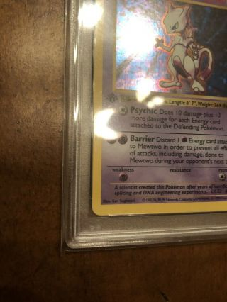 1st Edition Base Set Booster Pokemon Mewtwo PSA 10 Thick Stamp PRISTINE 4