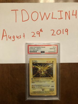 1st Edition Base Set Booster Pokemon Zapdos Psa 10 Thin Stamp Pristine