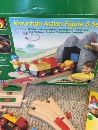 Brio Wooden Train Mountain Action Figure 8 Set With Battery Powered Train 2001