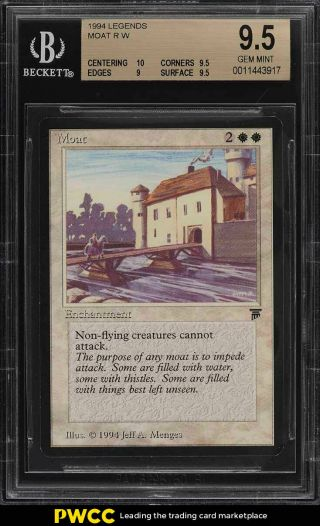 1994 Magic The Gathering Mtg Legends Moat R W Bgs 9.  5 Gem (pwcc)