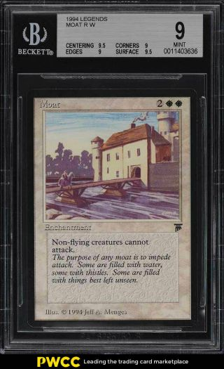 1994 Magic The Gathering Mtg Legends Moat R W Bgs 9 (pwcc)