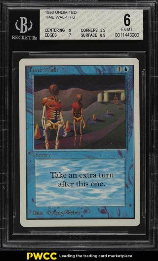 1993 Magic The Gathering Mtg Unlimited Time Walk R B Bgs 6 Exmt (pwcc)