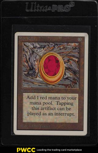 1993 Magic The Gathering Mtg Unlimited Mox Ruby R A,  Vg (pwcc)