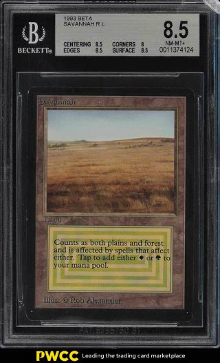 1993 Magic The Gathering Mtg Beta Dual Land Savannah R L Bgs 8.  5 Nm - Mt,  (pwcc)