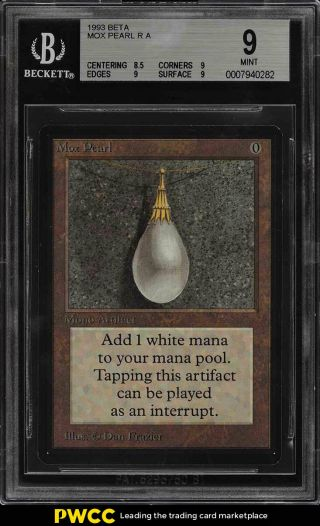1993 Magic The Gathering Mtg Beta Mox Pearl R A Bgs 9 (pwcc)