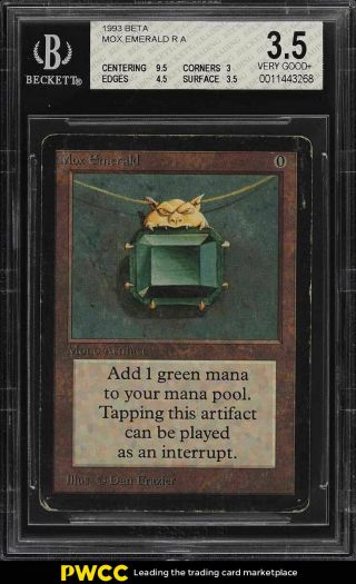 1993 Magic The Gathering Mtg Beta Mox Emerald R A Bgs 3.  5 Vg,  (pwcc)