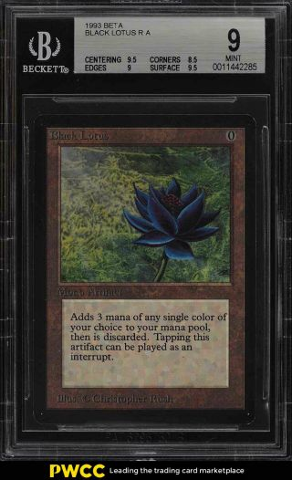 1993 Magic The Gathering Mtg Beta Black Lotus R A Bgs 9 (pwcc)