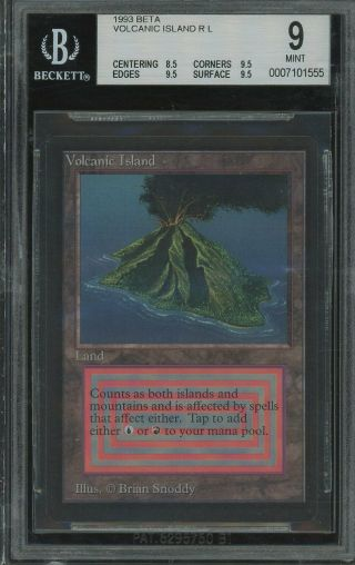 Bgs 9.  0 - Beta 9 - Volcanic Island - 0.  5 Away From 9.  5 - Magic Mtg 1993