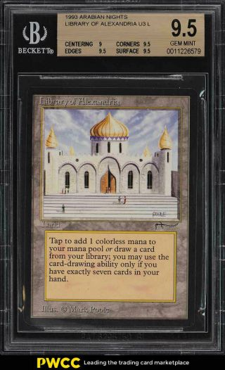 1993 Magic The Gathering Arabian Nights Library Of Alexandria U3 L Bgs 9.  5 (pwcc)
