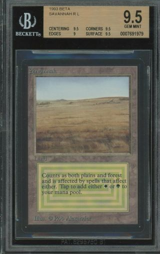 Bgs 9.  5 - Beta - Savannah - Gem Magic Mtg 1993