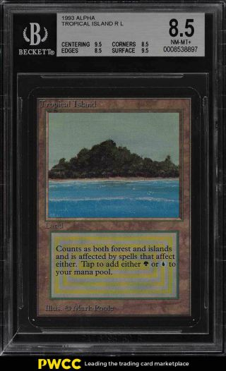 1993 Magic The Gathering Mtg Alpha Dual Land Tropical Island R L Bgs 8.  5 (pwcc)