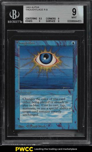 1993 Magic The Gathering Mtg Alpha Thoughtlace R B Bgs 9 (pwcc)