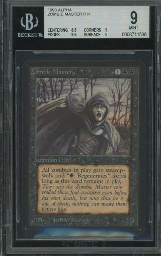 Bgs 9.  0 - Alpha 9 - Zombie Master - Magic The Gathering Mtg 1993