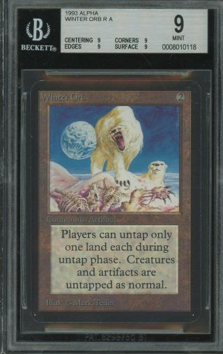Bgs 9.  0 - Alpha 9 - Winter Orb - Magic The Gathering Mtg 1993