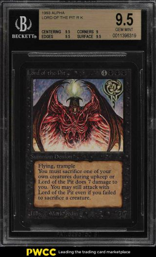 1993 Magic The Gathering Mtg Alpha Lord Of The Pit R K Bgs 9.  5 Gem (pwcc)