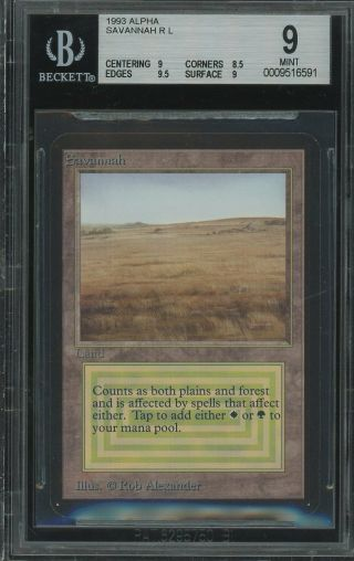 Bgs 9.  0 - Alpha 9 - Savannah - Magic The Gathering Mtg 1993