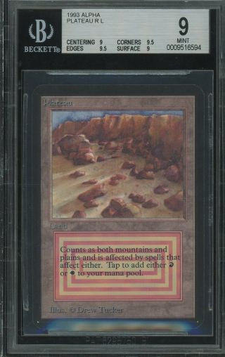 Bgs 9.  0 - Alpha 9 - Plateau - Magic The Gathering Mtg 1993