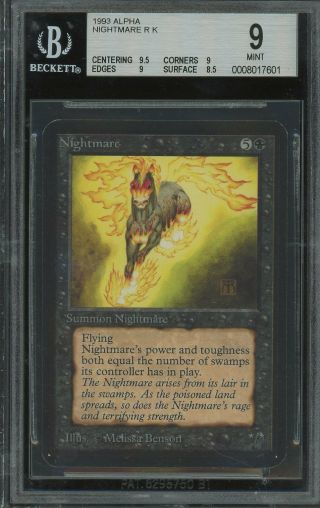 Bgs 9.  0 - Alpha 9 - Nightmare - Magic The Gathering Mtg 1993