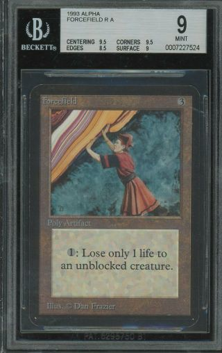 Bgs 9.  0 - Alpha 9 - Forcefield - Magic The Gathering Mtg 1993