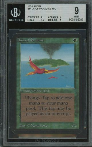 Bgs 9.  0 - Alpha 9 - Birds Of Paradise - Magic The Gathering Mtg 1993