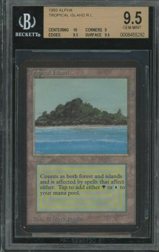 Bgs 9.  5 - Alpha - Tropical Island - Magic The Gathering Mtg 1993