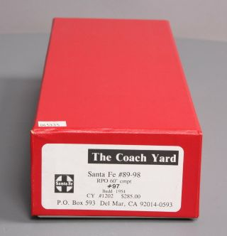 The Coach Yard 1202 HO BRASS ATSF RPO 60 ' Budd Car 97 EX/Box 12