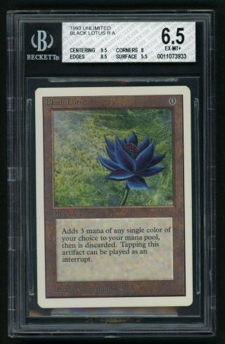 1x Bgs 6.  5 Unlimited Black Lotus Mtg Unlimited Power 9 - Kid Icarus -