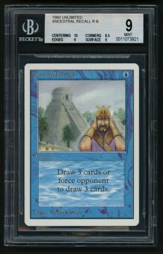 1x Bgs 9 Unlimited Ancestral Recall Mtg Unlimited Power 9 - Kid Icarus -
