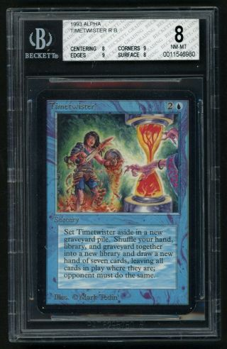 1x Bgs 8 Alpha Timetwister (quad, ) Mtg Alpha Power 9 - Kid Icarus -