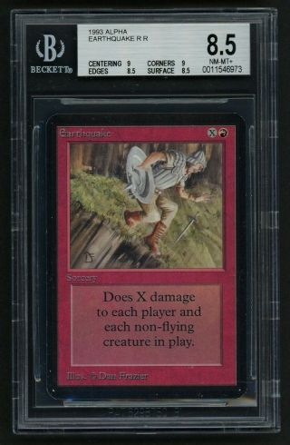 1x Bgs 8.  5 Alpha Earthquake (quad, ) Mtg Alpha - Kid Icarus -