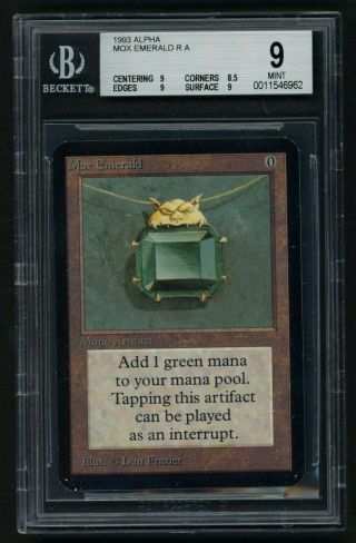 1x Bgs 9 Alpha Mox Emerald Mtg Alpha Power 9 - Kid Icarus -