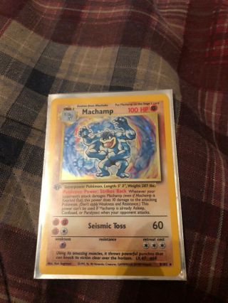 Machamp 1st Edition Shadowless Base Set Heavy Play Pokemon Card