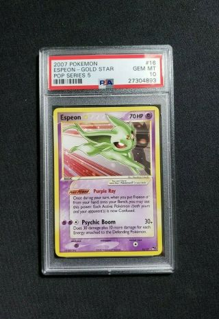 Pokemon Gold Star Espeon 16 - Pop Series 5 Psa 10 Gem