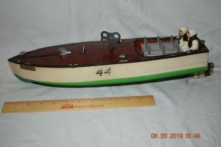 Vintage 1930s Lionel Craft Wind Up No.  44 Speed Boat With Drivers And Key