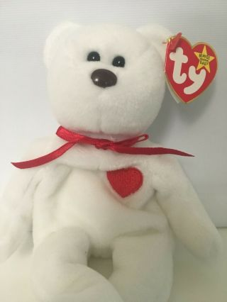 Rare: 1993 Valentino Bear Ty Beanie Baby With Typo On Tag,  Pvc,  Brown Nose,  Etc