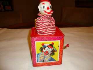"1953 Dated Jack In The Box With Clowns 5 1/2 "" Tin Toy Box Vintage Mattel"