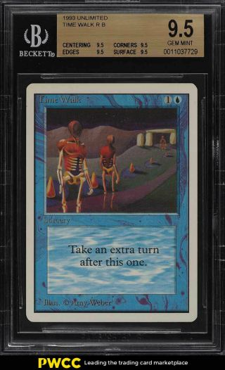 1993 Magic The Gathering Mtg Unlimited Time Walk R B Bgs 9.  5 Gem (pwcc)