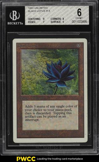 1993 Magic The Gathering Mtg Unlimited Black Lotus R A Bgs 6 Exmt (pwcc)