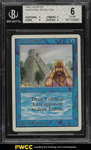 1993 Magic The Gathering Mtg Unlimited Ancestral Recall R B Bgs 6 Exmt (pwcc)