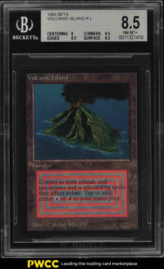 1993 Magic The Gathering Mtg Beta Dual Land Volcanic Island R L Bgs 8.  5 (pwcc)