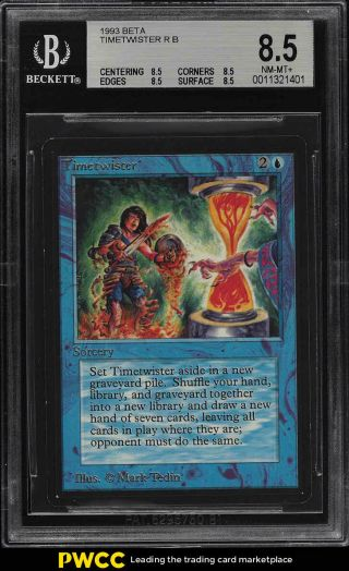 1993 Magic The Gathering Mtg Beta Timetwister R B Bgs 8.  5 Nm - Mt,  (pwcc)