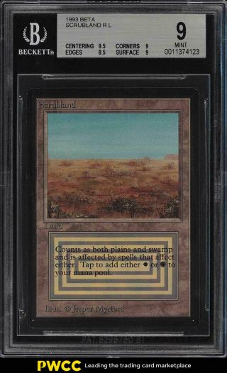 1993 Magic The Gathering Mtg Beta Dual Land Scrubland R L Bgs 9 (pwcc)