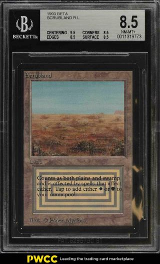 1993 Magic The Gathering Mtg Beta Dual Land Scrubland R L Bgs 8.  5 Nm - Mt,  (pwcc)