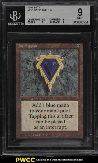 1993 Magic The Gathering Mtg Beta Mox Sapphire R A Bgs 9 (pwcc)