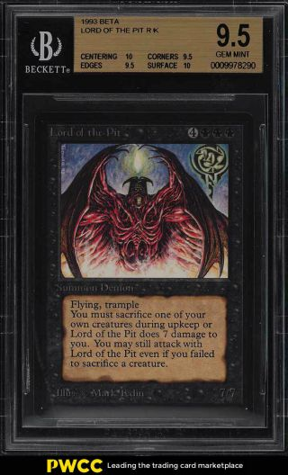 1993 Magic The Gathering Mtg Beta Lord Of The Pit R K Bgs 9.  5 Gem (pwcc)