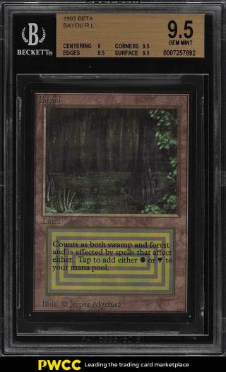 1993 Magic The Gathering Mtg Beta Dual Land Bayou R L Bgs 9.  5 Gem (pwcc)