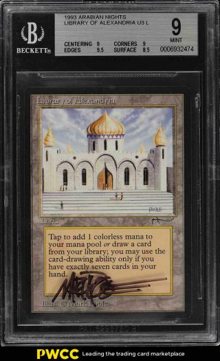 1993 Magic The Gathering Arabian Nights Library Of Alexandria Auto Bgs 9 (pwcc)